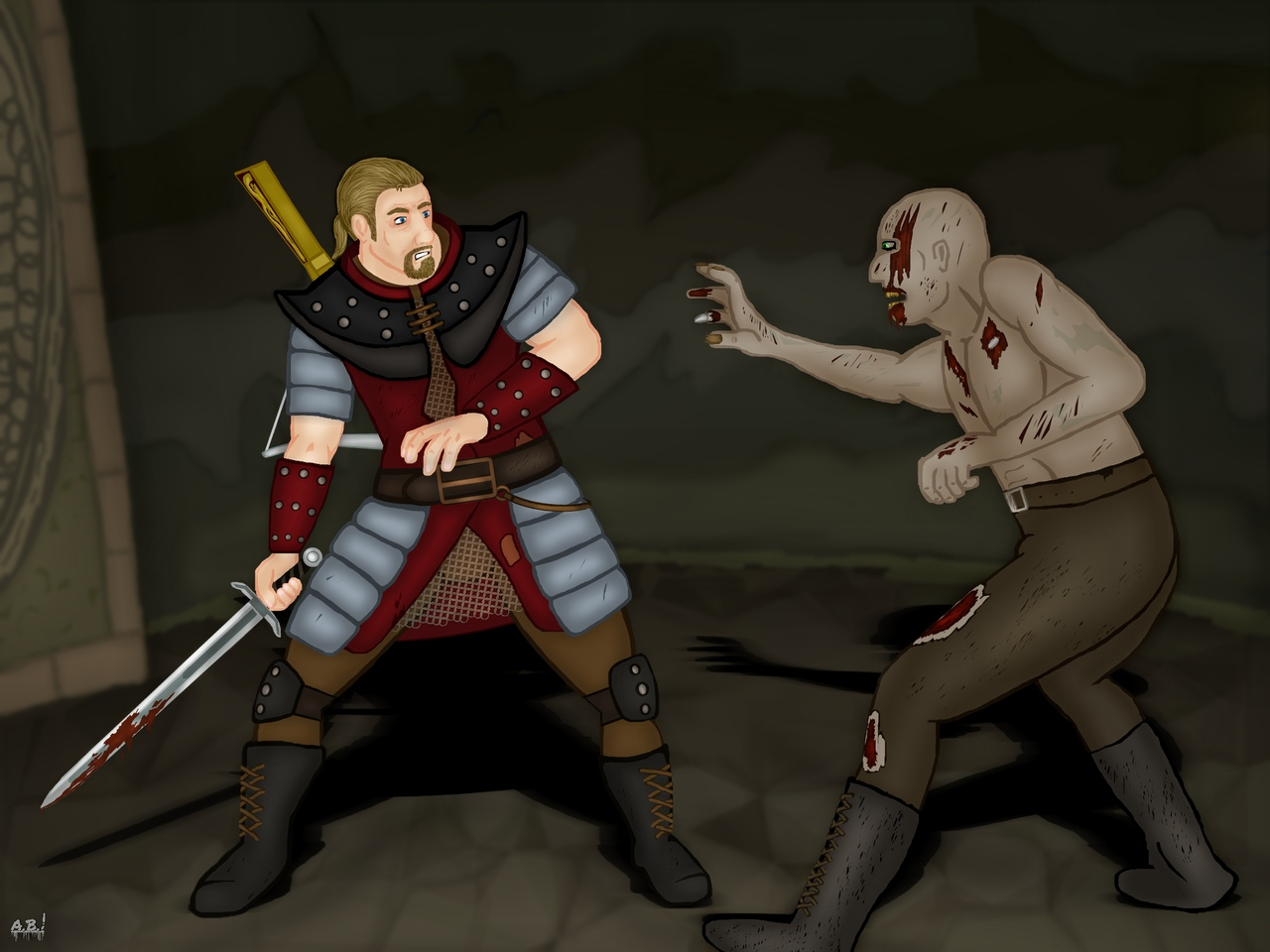 Nameless vs Zombie guard by Adam Burnley.jpg